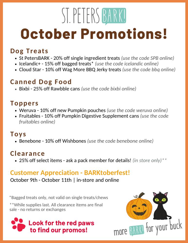 st petersbark october 2020 promotions